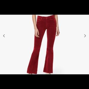 NWT MOTHER CORDUROY RED PANTS